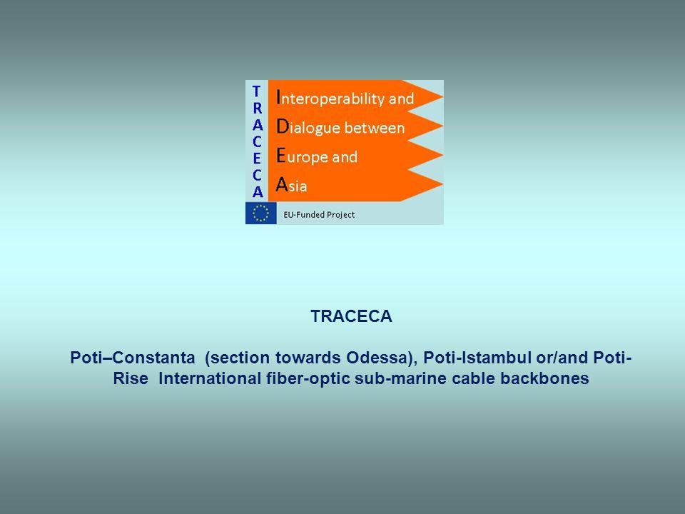 TRACECA Poti–Constanta (section towards Odessa), Poti-Istambul or/and Poti-Rise International fiber-optic sub-marine cable backbones