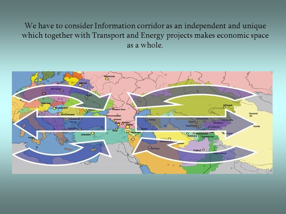 We have to consider Information corridor as an independent and unique which together with Transport and Energy projects makes economic space as a whole.