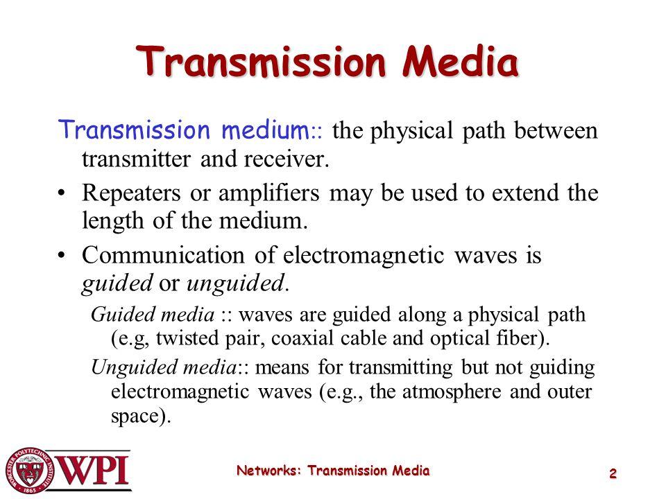 Networks: Transmission Media