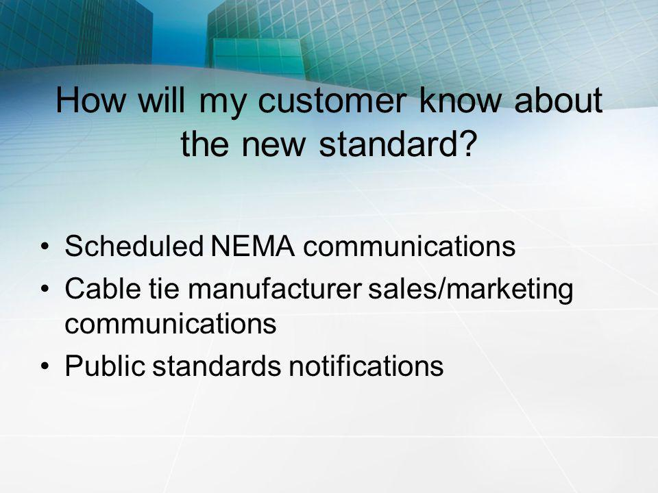 How will my customer know about the new standard