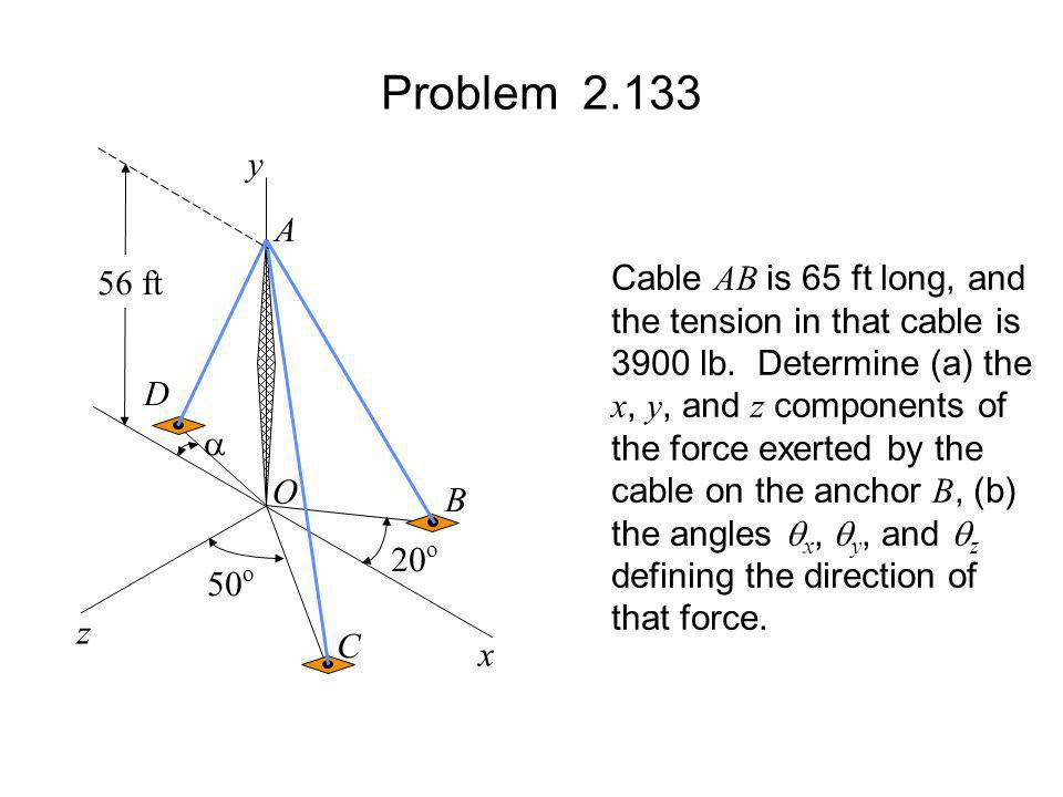 Problem 2.133 y A Cable AB is 65 ft long, and 56 ft