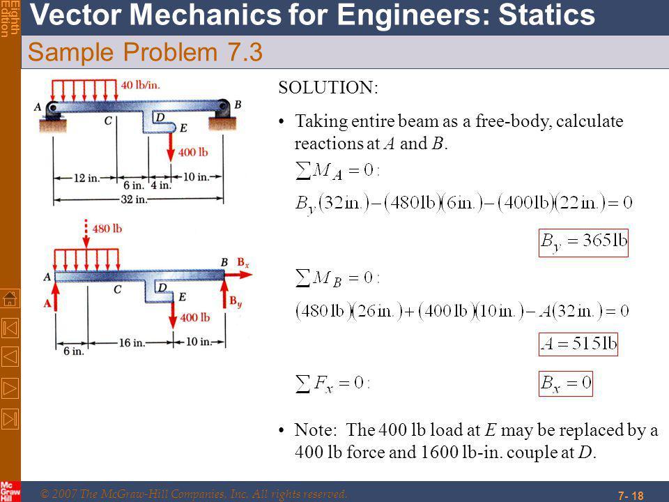 Sample Problem 7.3 SOLUTION: