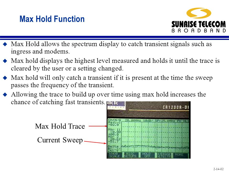 Max Hold Function Max Hold Trace Current Sweep