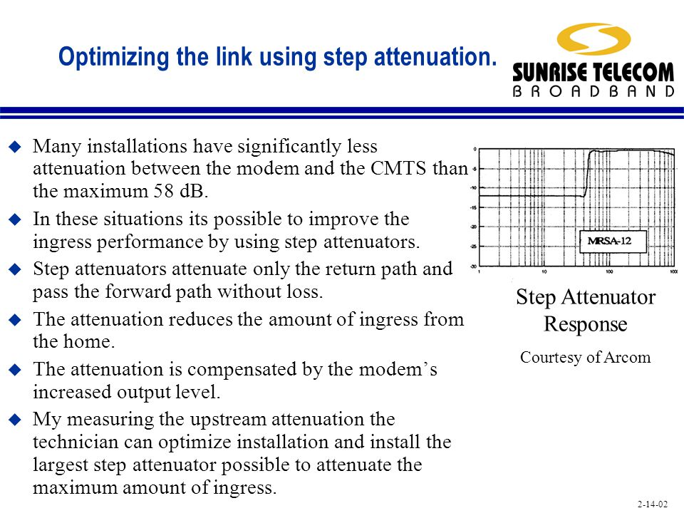 Optimizing the link using step attenuation.