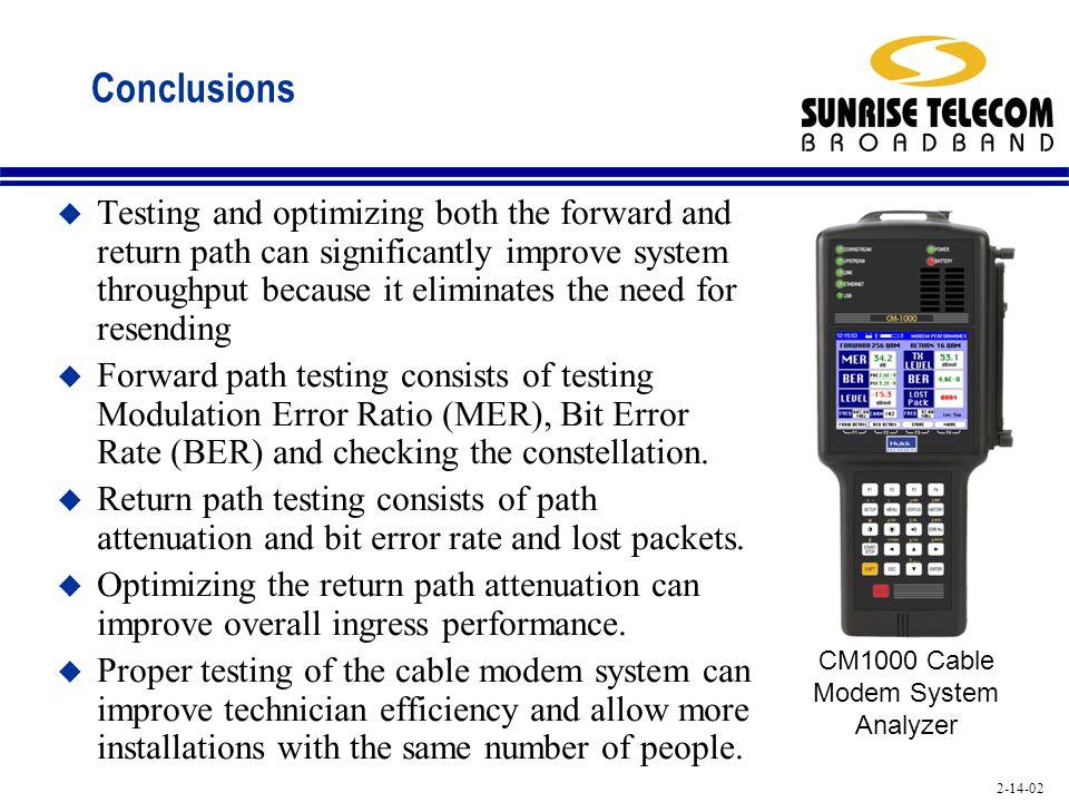 CM1000 Cable Modem System Analyzer