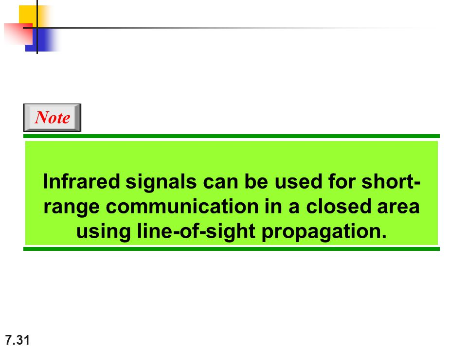 Note Infrared signals can be used for short-range communication in a closed area using line-of-sight propagation.