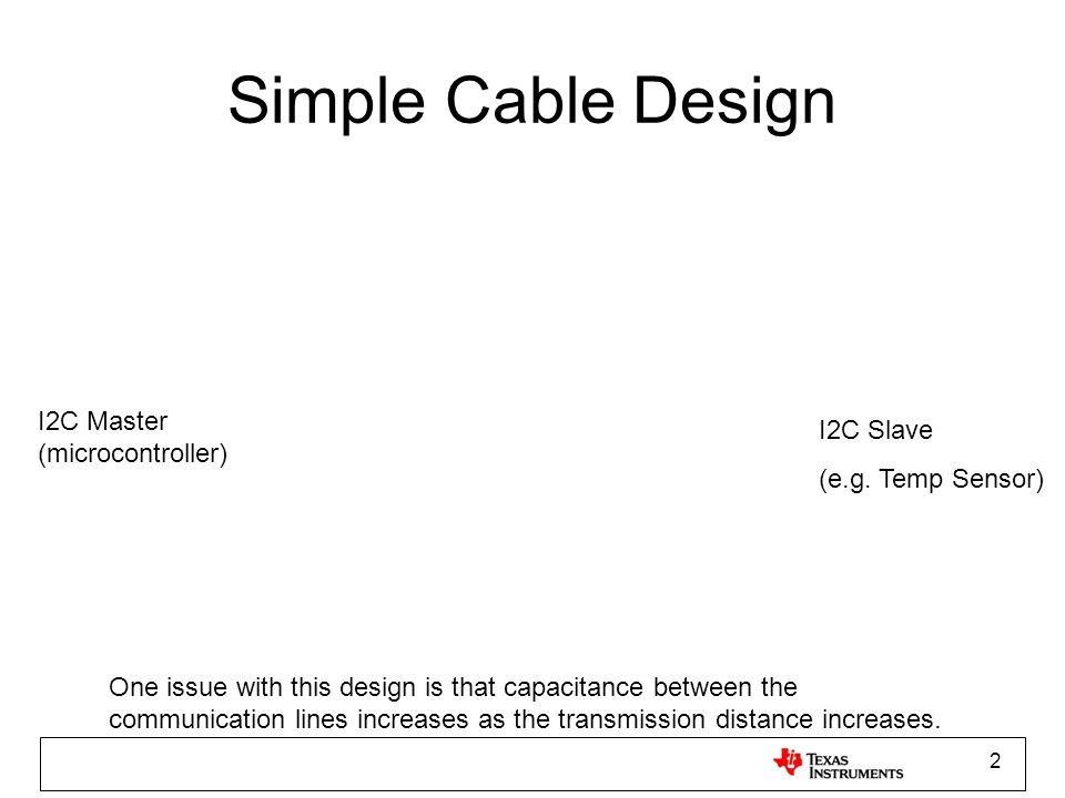 Simple Cable Design I2C Master (microcontroller) I2C Slave