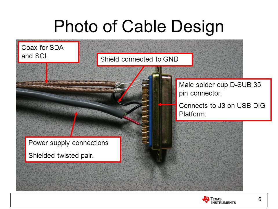 Photo of Cable Design Coax for SDA and SCL Shield connected to GND