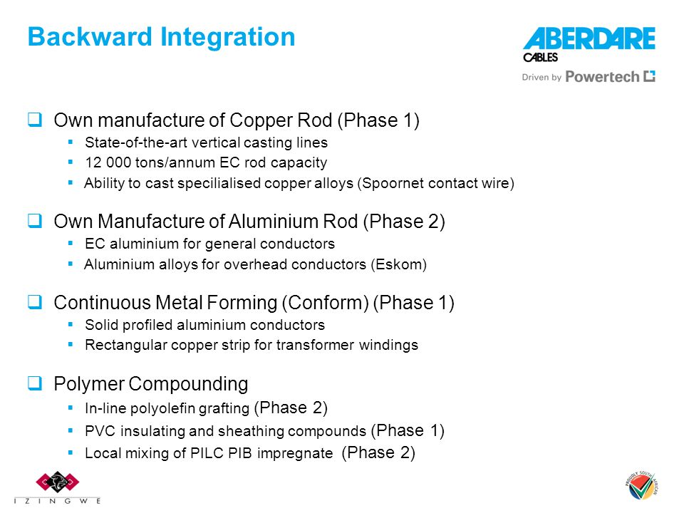 Backward Integration Own manufacture of Copper Rod (Phase 1)
