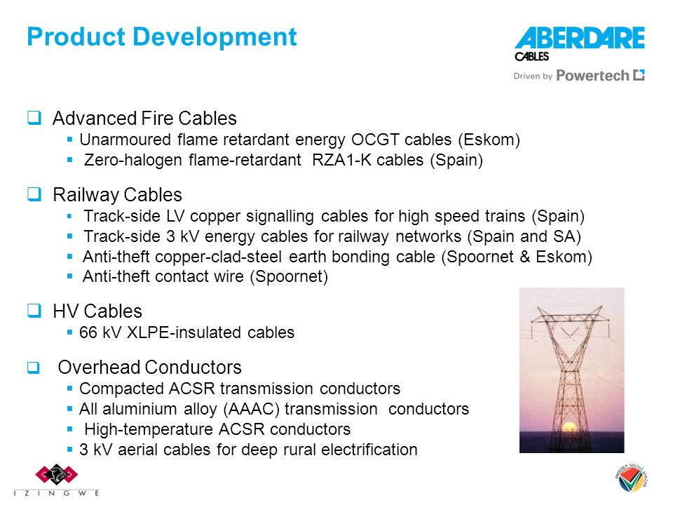 Product Development Advanced Fire Cables Railway Cables HV Cables