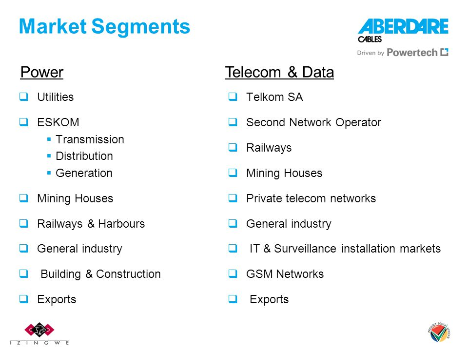 Market Segments Power Telecom & Data Utilities ESKOM Transmission