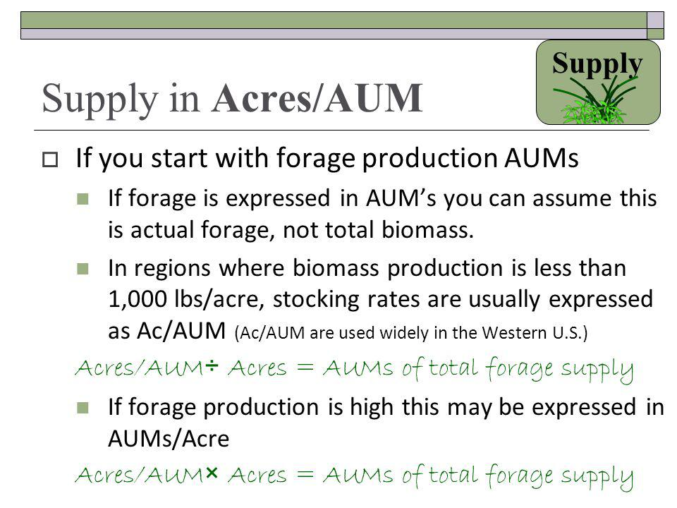Supply in Acres/AUM Supply If you start with forage production AUMs
