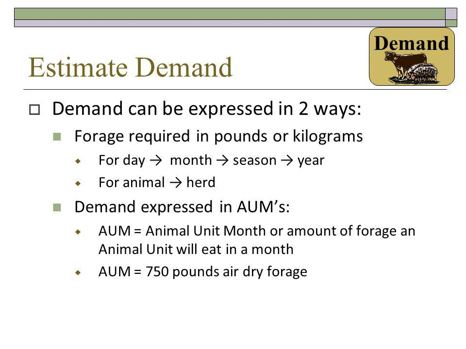 Estimate Demand Demand Demand can be expressed in 2 ways: