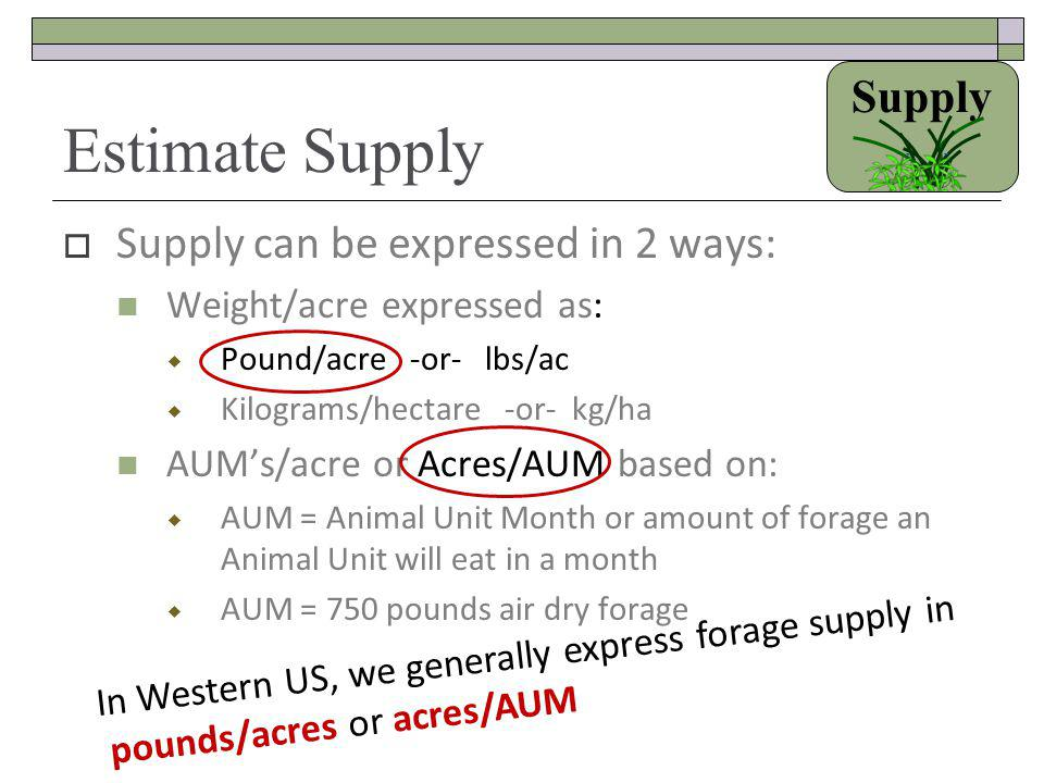 Estimate Supply Supply Supply can be expressed in 2 ways:
