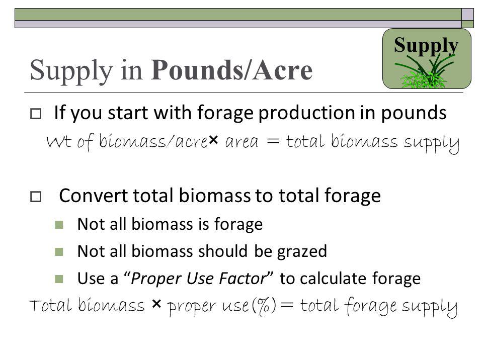Wt of biomass/acre× area = total biomass supply