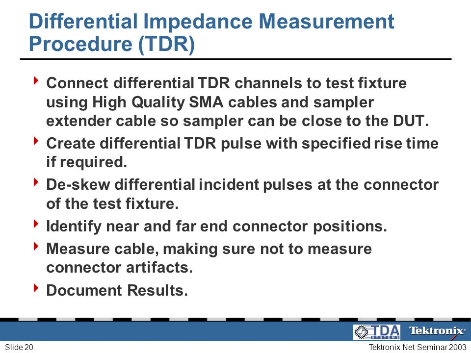 Differential Impedance Measurement Procedure (TDR)