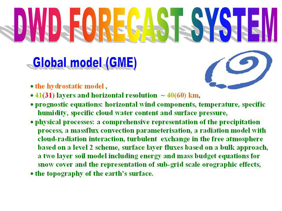 DWD FORECAST SYSTEM Global model (GME)