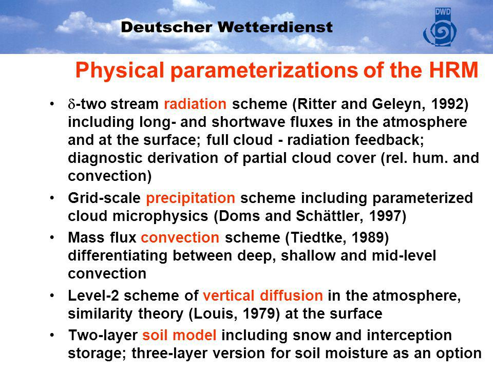 Physical parameterizations of the HRM