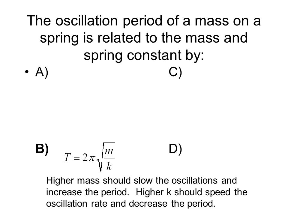 The oscillation period of a mass on a spring is related to the mass and spring constant by: