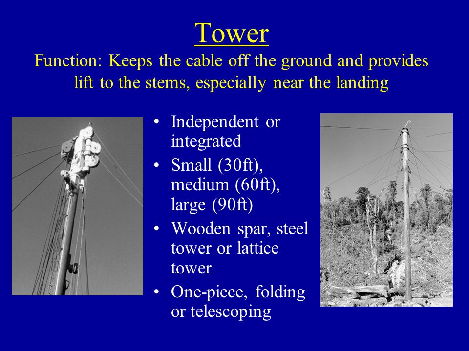 Tower Function: Keeps the cable off the ground and provides lift to the stems, especially near the landing