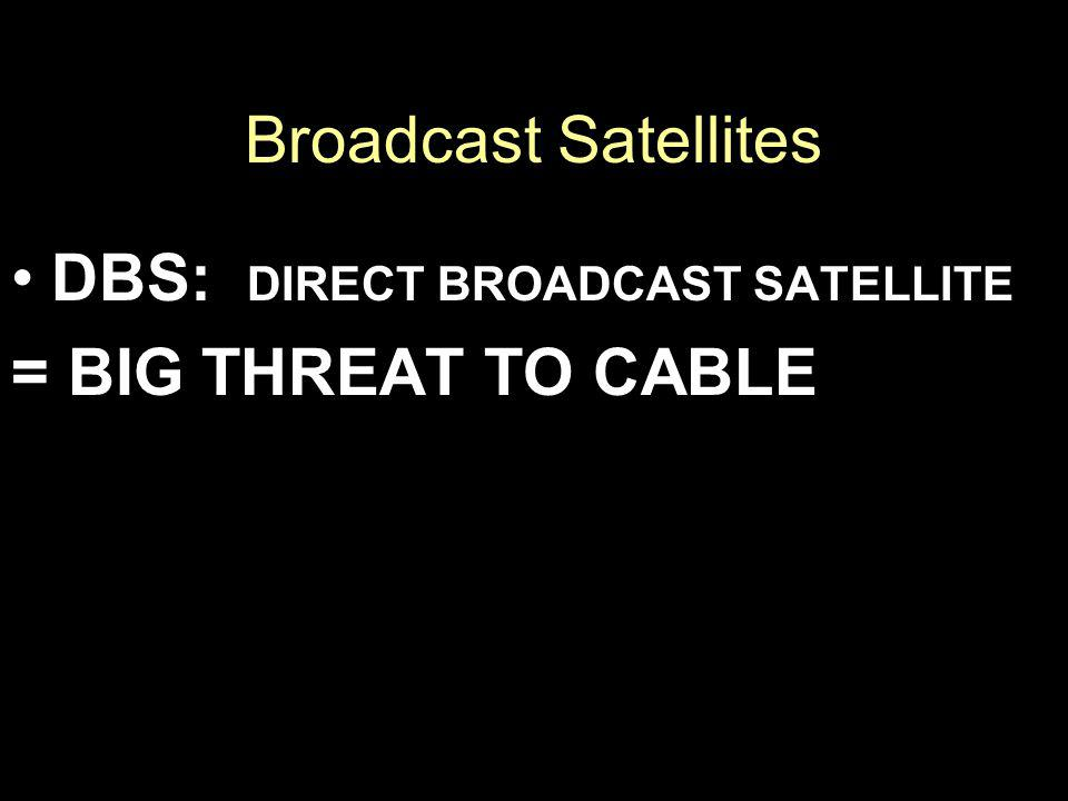 Broadcast Satellites DBS: DIRECT BROADCAST SATELLITE = BIG THREAT TO CABLE
