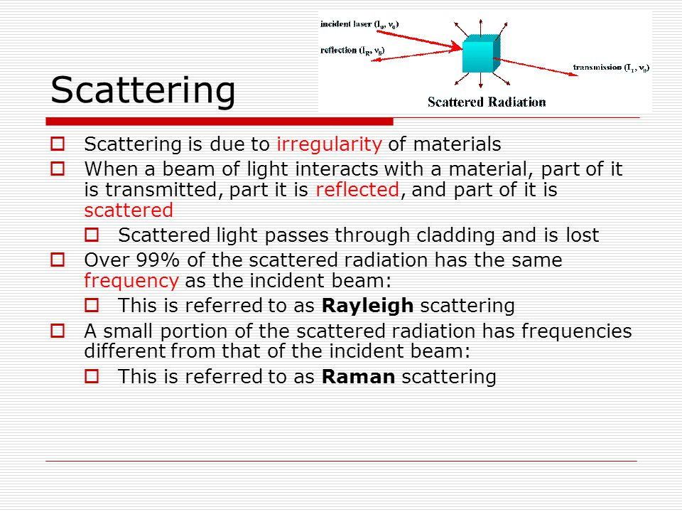 Scattering Scattering is due to irregularity of materials