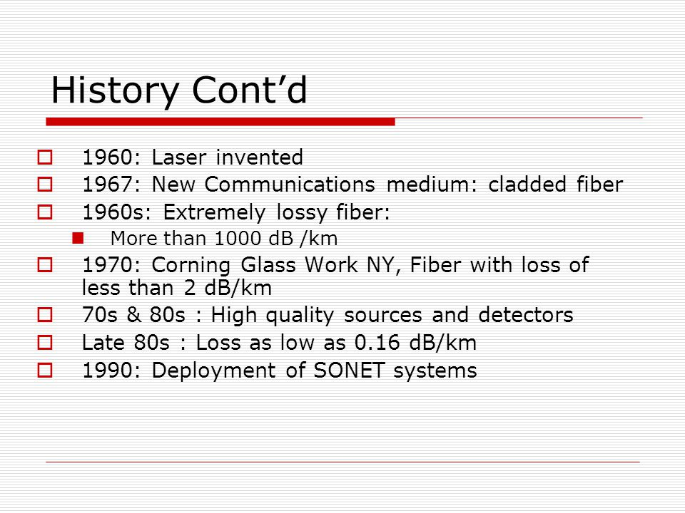History Cont'd 1960: Laser invented