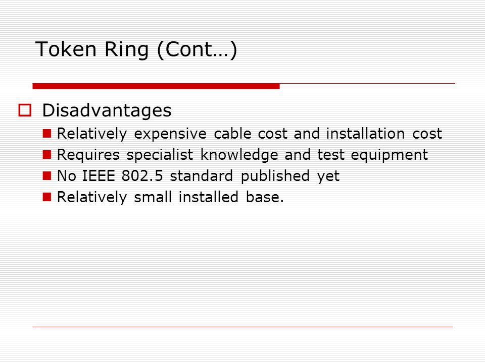 Token Ring (Cont…) Disadvantages
