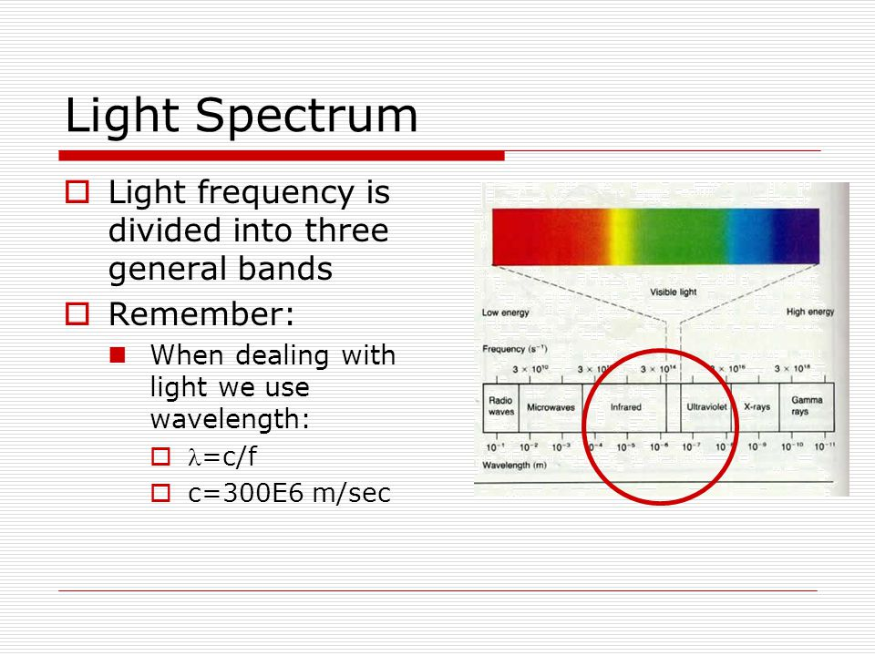 Light Spectrum Light frequency is divided into three general bands