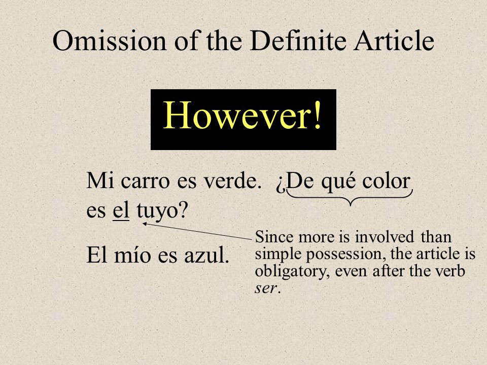 Omission of the Definite Article