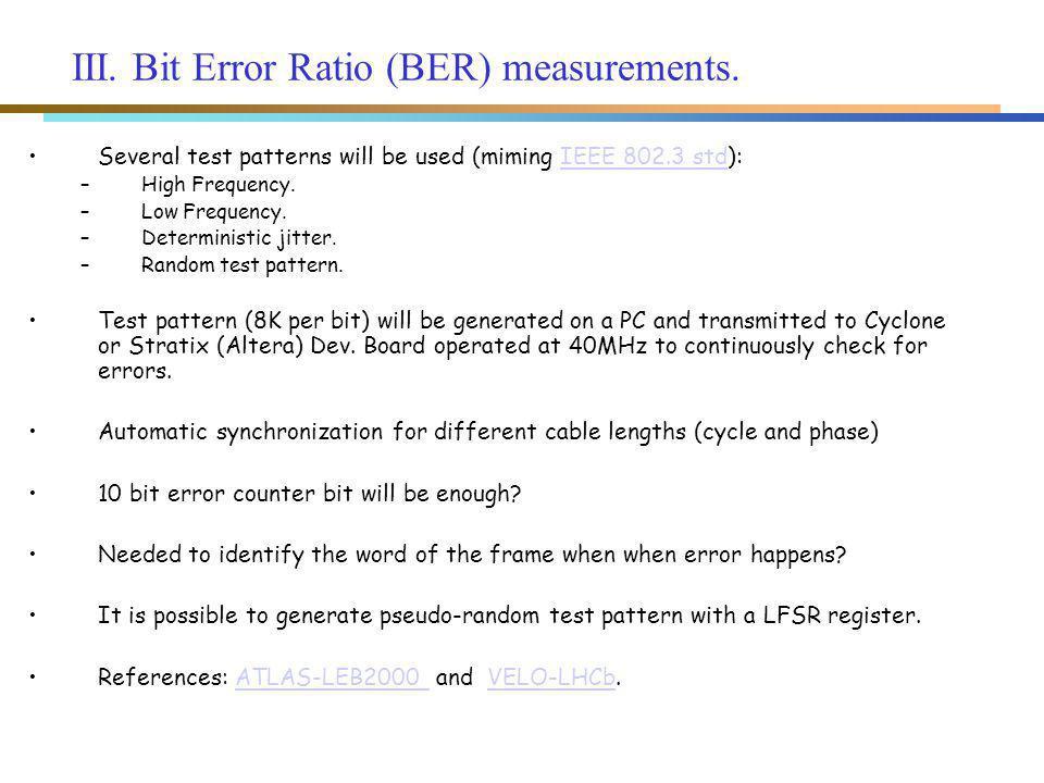III. Bit Error Ratio (BER) measurements.