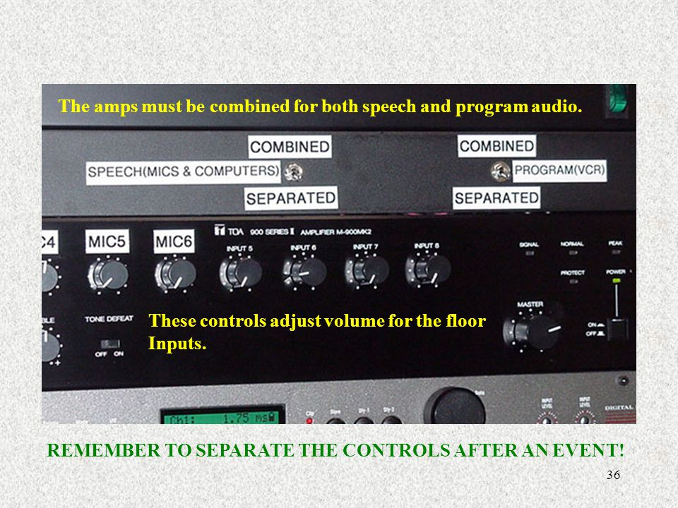 The amps must be combined for both speech and program audio.