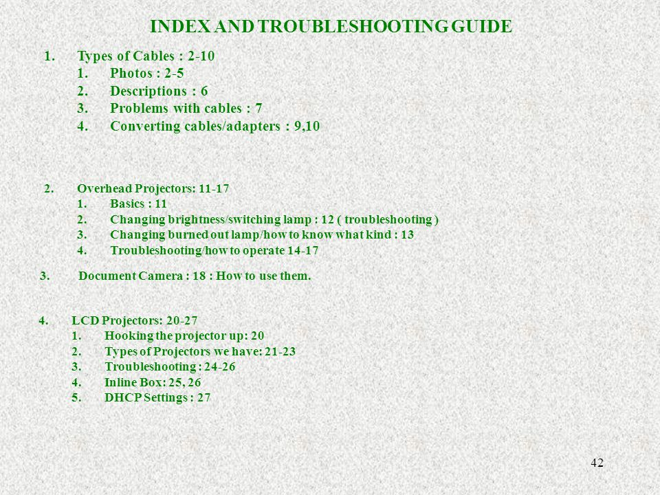 INDEX AND TROUBLESHOOTING GUIDE