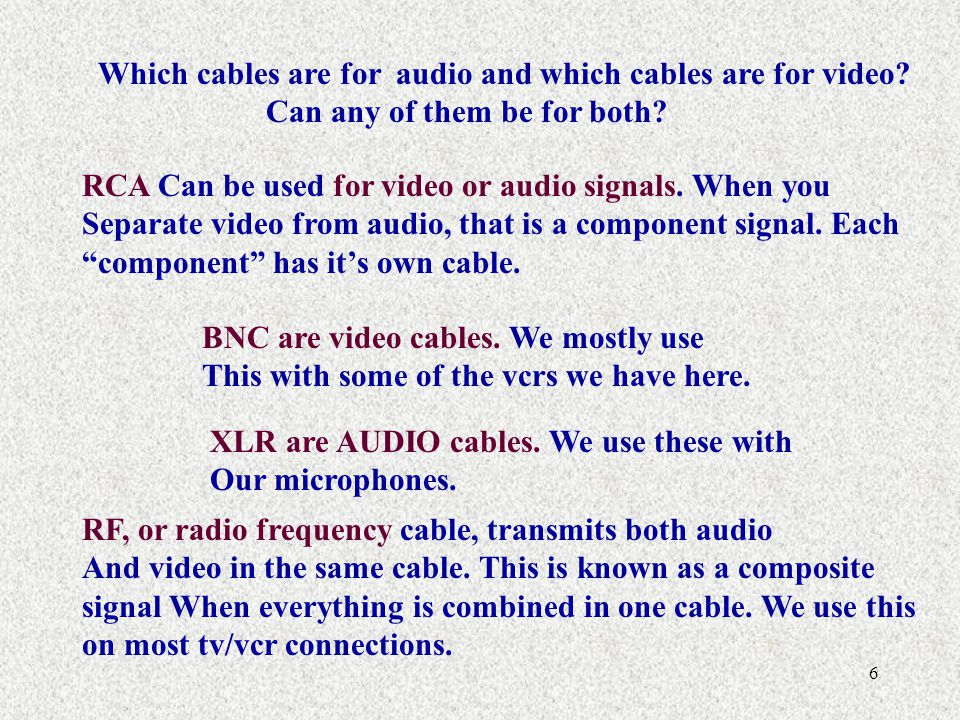 Which cables are for audio and which cables are for video