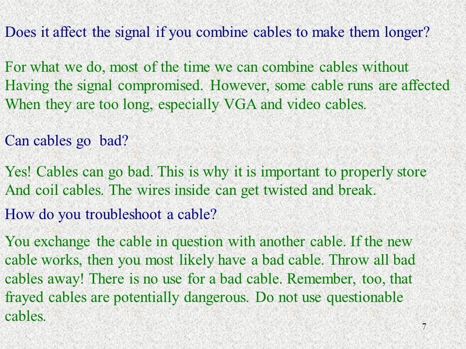 Does it affect the signal if you combine cables to make them longer