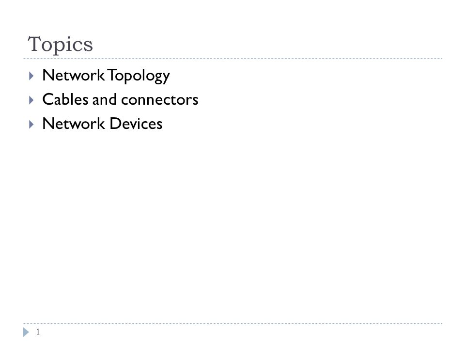 Topics Network Topology Cables and connectors Network Devices