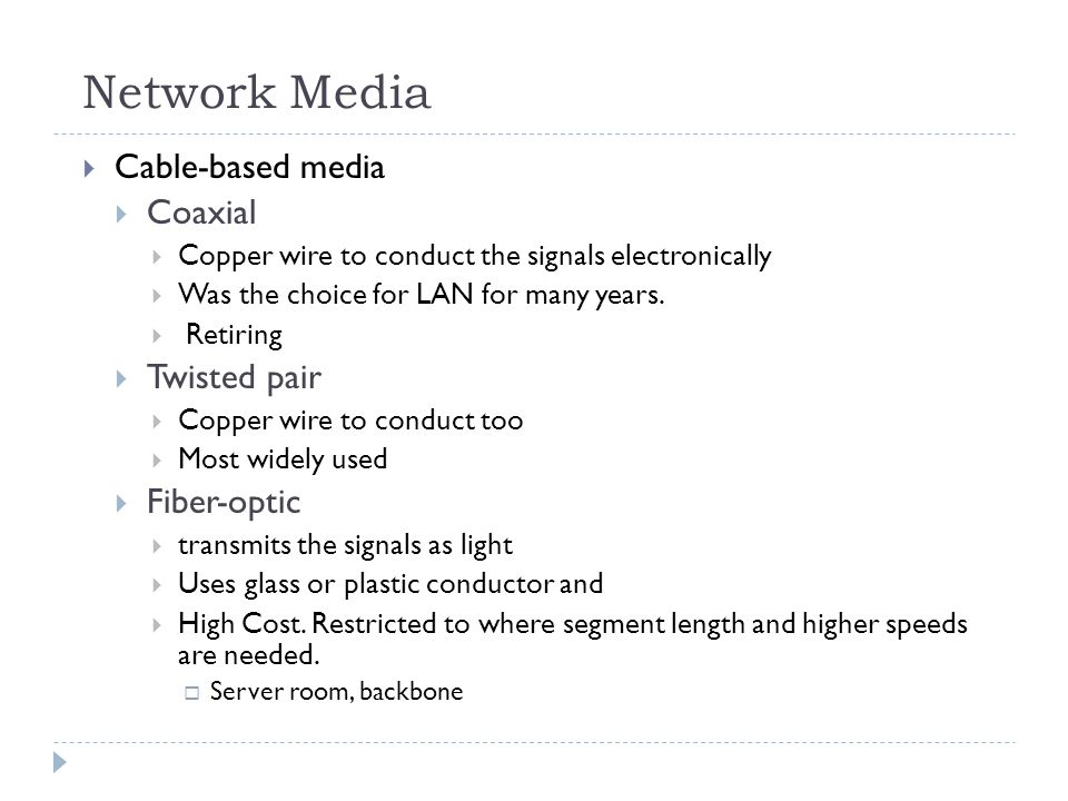 Network Media Cable-based media Coaxial Twisted pair Fiber-optic