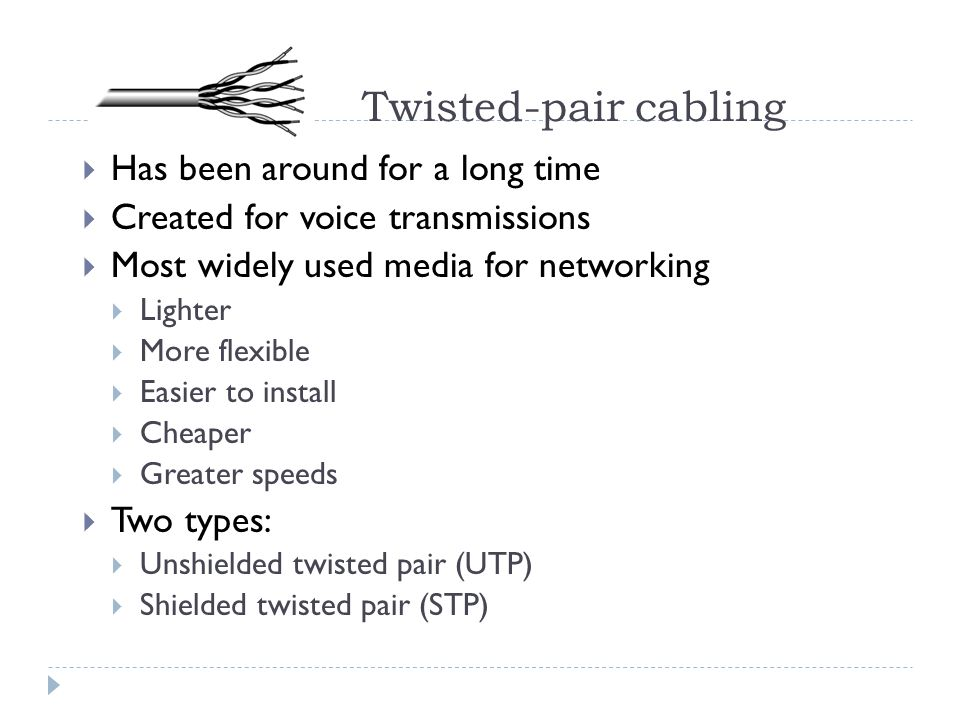 Twisted-pair cabling Has been around for a long time