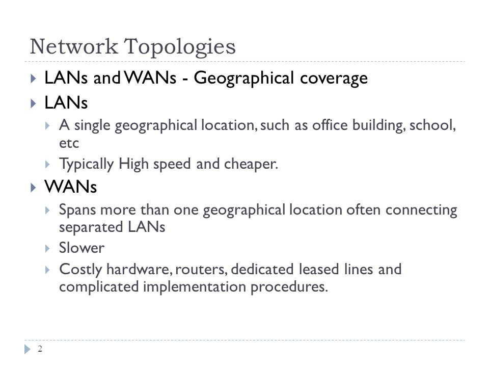 Network Topologies LANs and WANs - Geographical coverage LANs WANs
