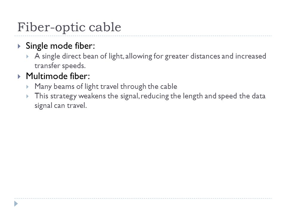 Fiber-optic cable Single mode fiber: Multimode fiber: