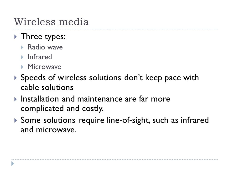 Wireless media Three types: