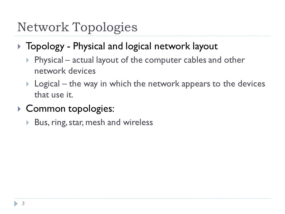 Network Topologies Topology - Physical and logical network layout