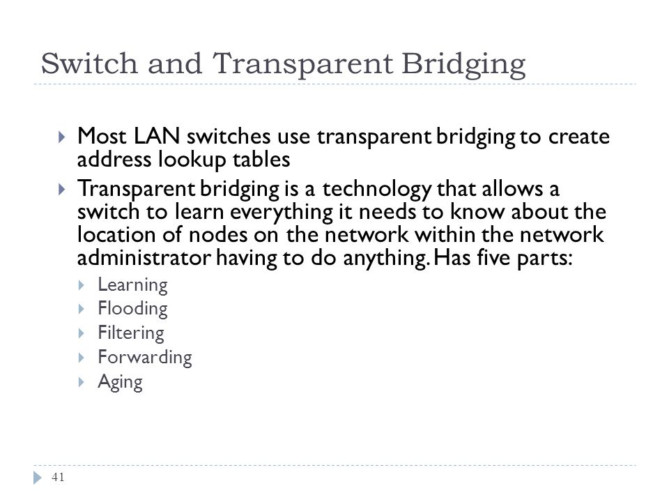 Switch and Transparent Bridging