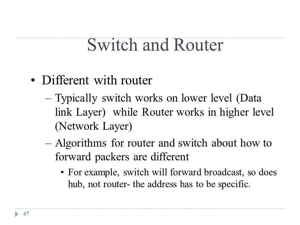 Switch and Router Different with router