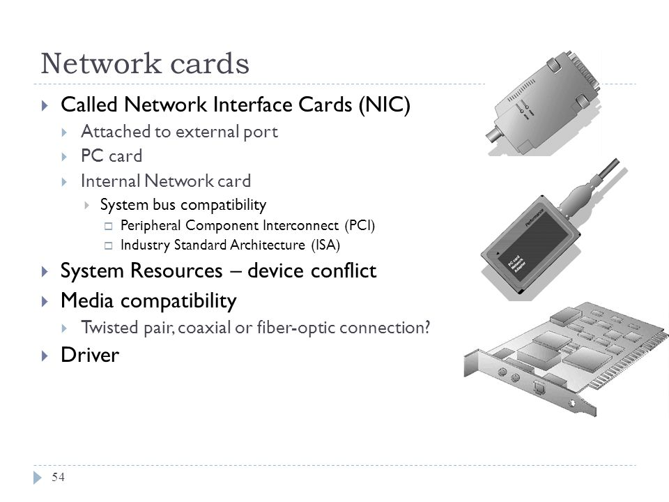 Network cards Called Network Interface Cards (NIC)