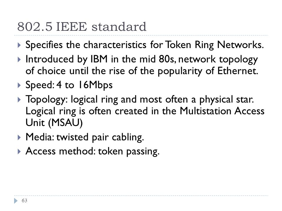 802.5 IEEE standard Specifies the characteristics for Token Ring Networks.