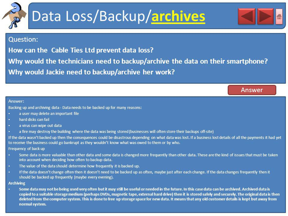 Data Loss/Backup/archives