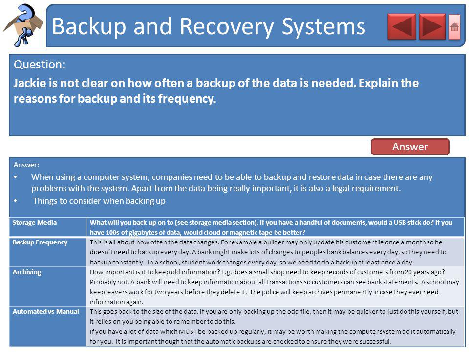 Backup and Recovery Systems