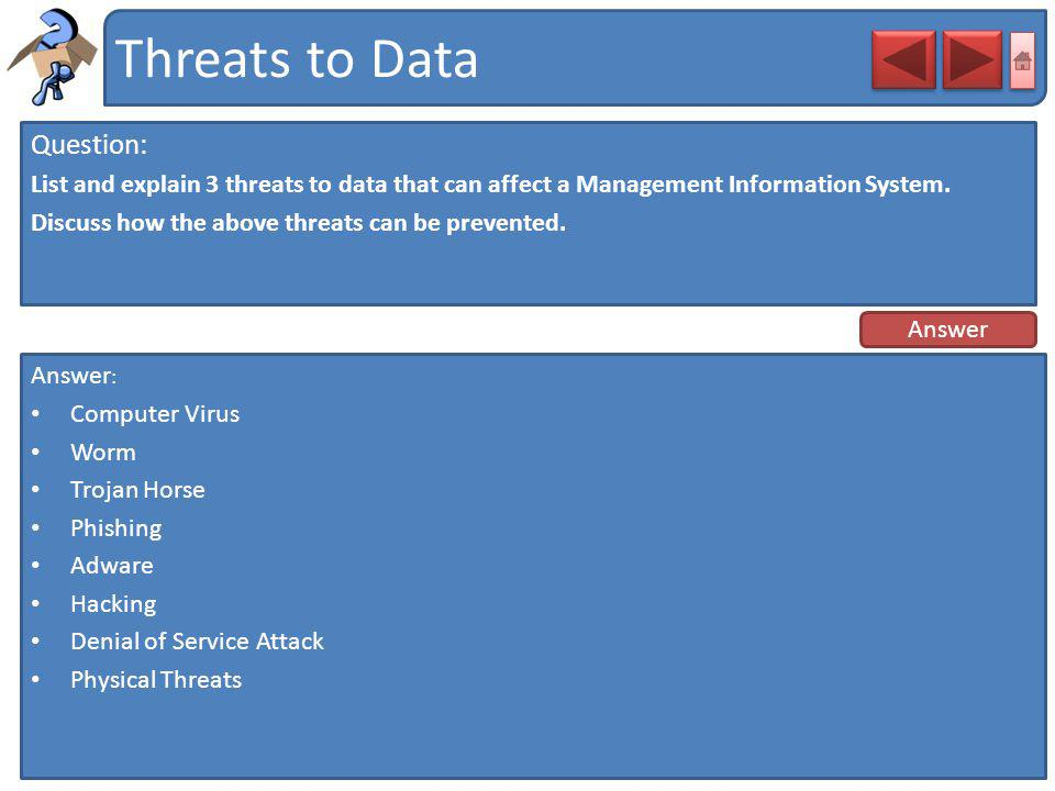 Threats to Data Question:
