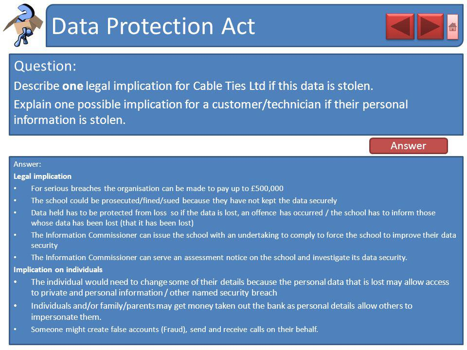 Data Protection Act Question: